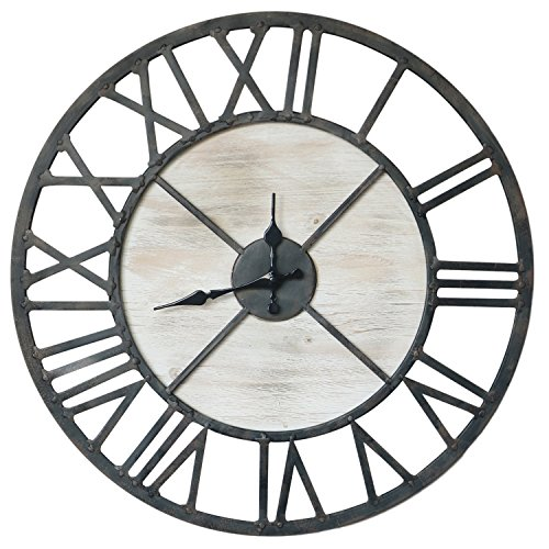 Wood Tabletop Clock (Barnyard Designs Rustic Vintage Decorative Metal and Wood Circular Wall Clock 20-Inch)