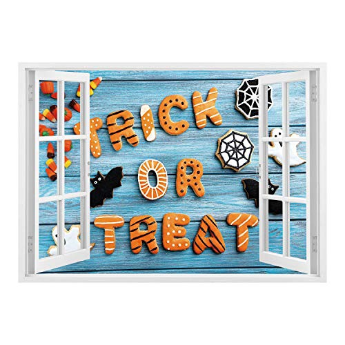 SCOCICI Wall Mural, Removable Sticker, Home Décor/Halloween,Fresh Trick or Treat Gingerbread Cookies on Blue Wooden Table Spider Web Ghost Decorative,Multicolor/Wall Sticker Mural