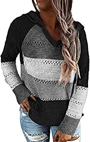 MAYFASEY Women's Striped Color Block Hoodies Sweater Long Sleeve Casual Loose Knitted Pullover