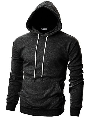 Ohoo Mens Slim Fit Long Sleeve Lightweight Hoodie With Kanga Pocket/DCF010-CHARCOAL-M
