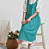 Cotton Linen Cross Back Apron for Women with