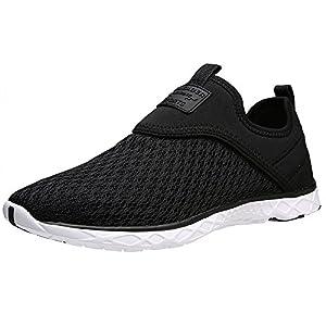 Aleader Men's Slip-on Athletic Water Shoes Black 9.5 D(M) US