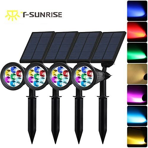 Solar Spotlights,T-SUNRISE 7 LED Changing Color Garden Solar Lights Outdoor Bright Dark Sensing Auto On Off In-ground Light