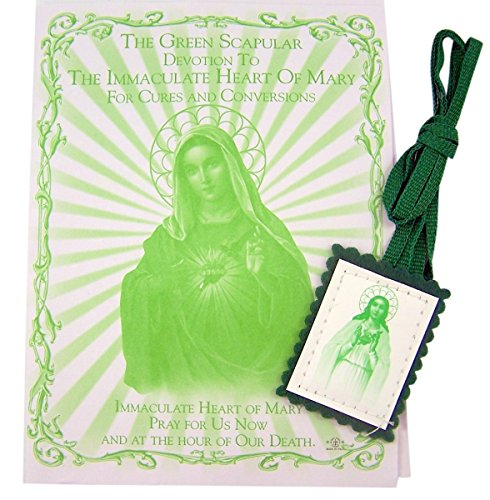 (Green Cloth Scapular with Devotion to The Immaculate Heart of Mary Pamphlet, 13)