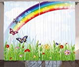 Ambesonne Rainbow Curtains, Springtime Meadow Colorful Butterflies Grass Daisy Silhouettes Poppy Playroom Decor, Living Room Bedroom Window Drapes 2 Panel Set, 108W X 84L Inches, Multicolor