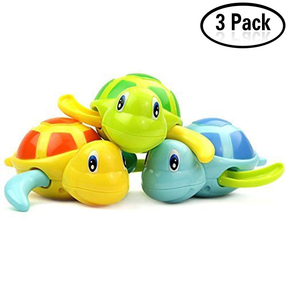 Yojoloin Baby Bathing Bath Swimming Tub Pool Toy Cute Wind Up Turtle Animal Bath Toys Set for Kids(3 PCS, 3 Color)