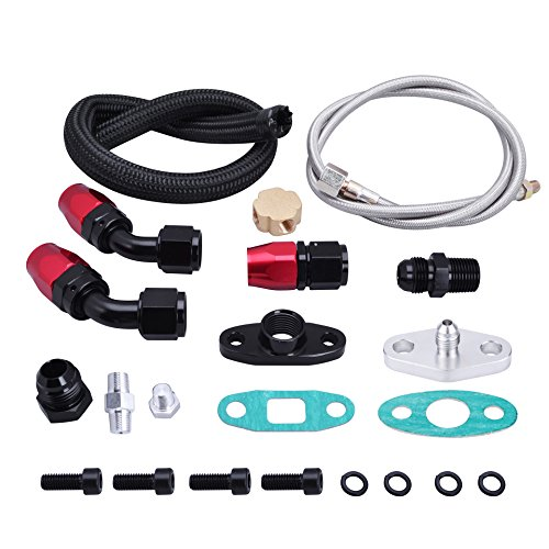 Line Oil Supply - EVIL ENERGY Turbo Oil Drain Return Line Oil Feed Kit T3 T4 T04E T60 T61 T70 Black