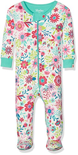 Hatley Baby Toddler Girls' 100% Organic Cotton Footed Sleeper, Wallpaper Flowers, 12-18M