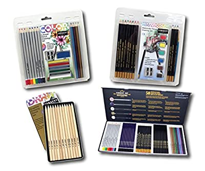 Sargent Art 22-0047 Activity Kit Drawing is Fun Kit 4Piece Art Activity Set, Colored Pencils, Graphite Pencils, Sharpeners