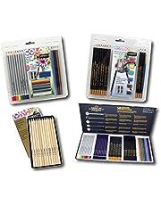 مجموعة فن الرسم 22-0047 من سارجينت آرت 4 قطع، مجموعة أنشطة فنية ملونة، أقلام جرافيت ومبراة