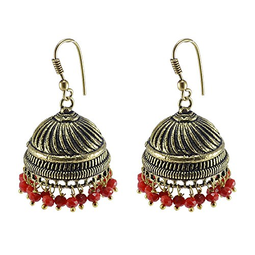 Silvesto India Vintage Indian Bollywood Red Crystals Chandelier Jhumka Earrings Jewellery PG-102480