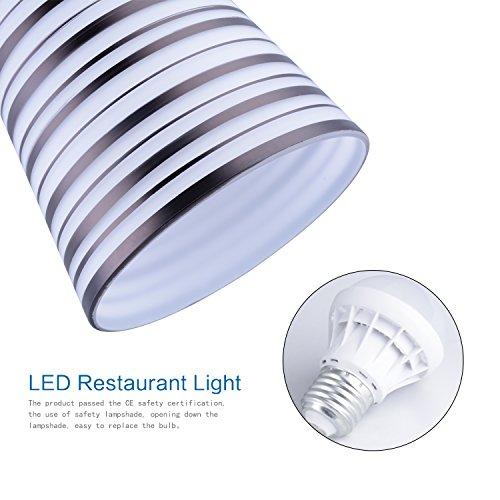 Elitlife Modern Multi-Light Pendant Light With 3-light 3x5W Bulb Elegant Chandelier Hanging Light Ceiling light Stripe Glass Shades for Restaurant,Kitchen,Living room,Cafe, Hotel (White) by Elitlife (Image #4)