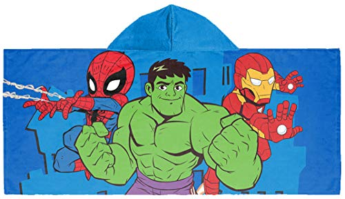 Jay Franco Marvel Super Hero Adventures United Kids Bath/Pool/Beach Hooded Towel – Featuring The Avengers – Super Soft & Absorbent Cotton Towel, Measures 22 inch x 51 Inch (Official Marvel Product)