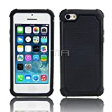 iPhone 5C Rugged Rubber Impact Heavy Duty Hard Dual Layer Shock Proof Case Cover Skin - Black