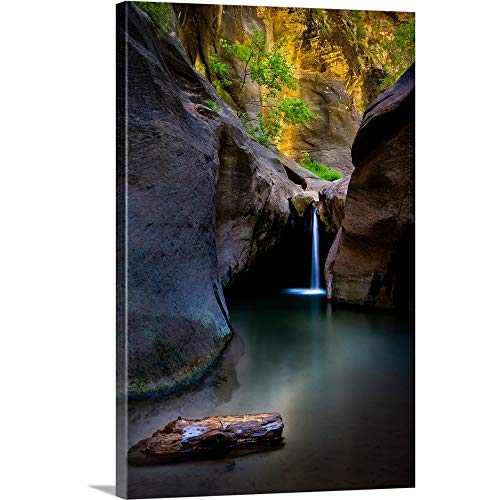 A Waterfall in The Narrows, Zion National Park, Utah Canvas Wall Art Print, - Utah Park National Photograph