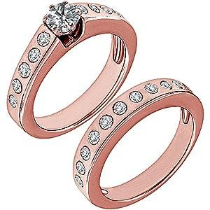 1.55 Carat G-H I2-I3 Diamond Engagement Wedding Anniversary Halo Bridal Ring Set 14K Rose Gold