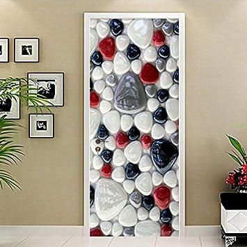 xsongue Pvc Waterproof Self-Adhesive Stones Bathroom Door Sticker