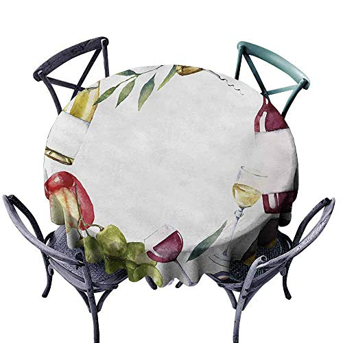 - VIVIDX Stain Round Tablecloth,Wine,Round Frame with Hand Painted Food Objects Watercolor Wine Cheese Fruits Collection,High-end Durable Creative Home,55 INCH,Multicolor