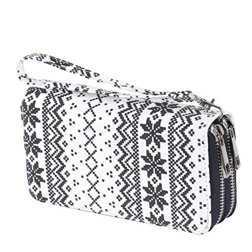 Women's Double Zipper Wallet Large Clutch Cellphone Bag with Wristlet and ID Window (Snowflake)