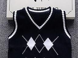Happy Cherry Boys Waistcoat Soft Cotton V-Neck Knit School Sweater Vest Navy 3T