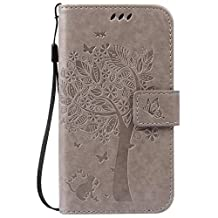 Moto G 2nd Gen Case,Moto G EXT Case,Gift_Source [Card Slots] Magnetic Closure Embossed Cat Tree Butterfly PU Leather Wallet Flip Folio Case Wrist Strap for Moto G(2nd Gen 2014)/Moto G EXT[Gray]