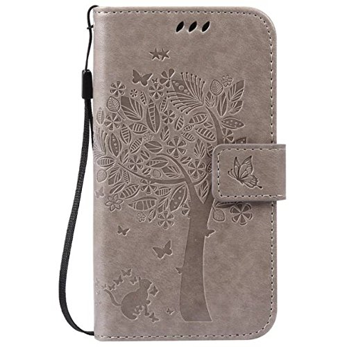 Moto G 2nd Gen Case,Moto G EXT Case,Gift_Source [Card Slots] Magnetic Closure Embossed Cat Tree Butterfly PU Leather Wallet Flip Folio Case Wrist Strap for Moto G(2nd Gen 2014)/Moto G EXT[Gray] (Moto G Ext Accessories)