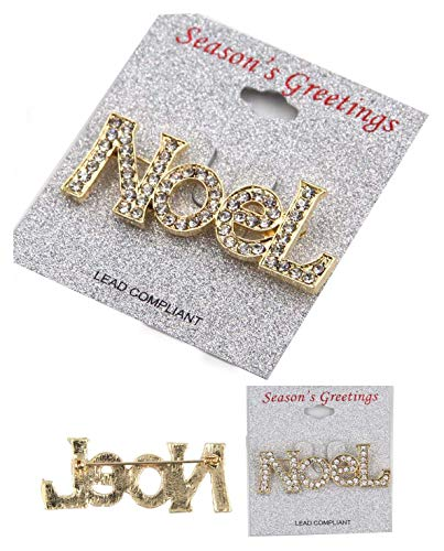 Azzon 12 pcs Christmas Noel pin Brooch with Clear Stone Holiday New Gift Brooch pin -