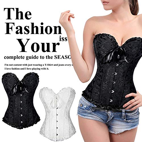 Sexy Corselet Women Plus Size Satin Overbust Embroidered Corset Top Shapewear with G String Set Lingerie Push Up Waist Training Bustier Slim_Dream,S-6XL (Corset Dream)