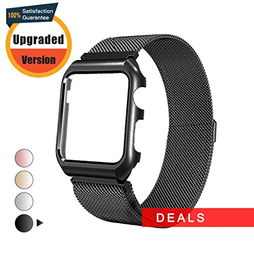 Apple Watch Band Milanese Loop 38mm,Mobest Stainless Steel Magnetic Band with Metal Protective Case Mesh Magnetic Bracelet Strap for 38mm Apple Watch Series 3/2/1,Sport and Edition-Black by Mobest