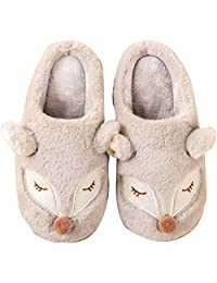 ZYGAJ High Quality Cute Cartoon Animal Fox Female Slippers Winter Warm Plush Home Fluffy Slide Cotton Home Shoes