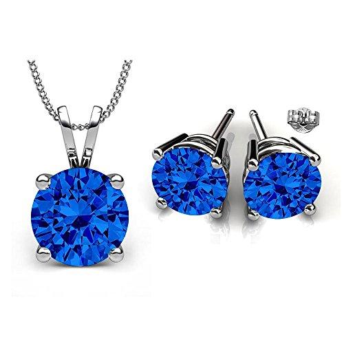 Swarovski Crystals September Birthstone Sapphire Stud Pendant & Earrings Set