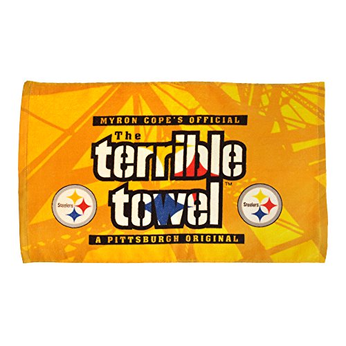 NFL Pittsburgh Steelers Steel Beam Terrible Towel, 24-inch by 15-inch, Black and Gold from SteelerMania
