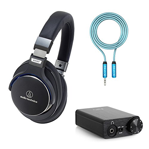 Audio-Technica ATH-MSR7BK SonicPro Over-Ear Hi-Res Headphones, Black? -Includes- FiiO E10K USB DAC Headphone Amplifier and Blucoil 6-Ft Earphone Extension Cable