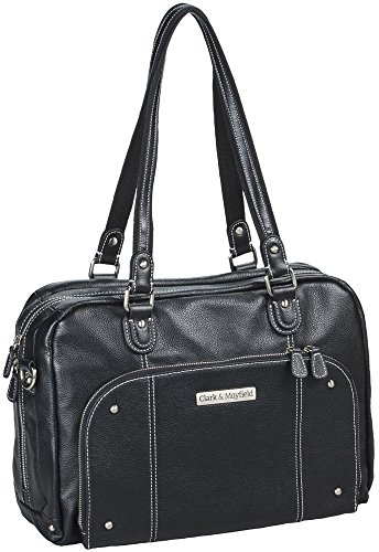 Clark & Mayfield Morrison Leather 14.4'' Laptop Handbag Black by Clark & Mayfield
