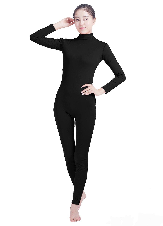 Ensnovo Womens Turtleneck Spandex Long Sleeve Footless Dancewear Unitard Black,XL