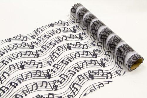 Camino de mesa m/úsica tela de organza adornado con partituras y billetes de llaves longitud 5 Meter y anchura 28 cm