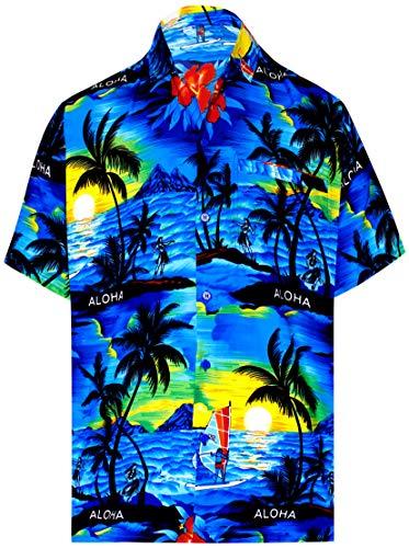 LA LEELA Likre Short Sleeves Collar Shirt Blue 475 3XL |Chest 60