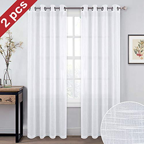 NICETOWN Linen Look Window Curtains 95 - Soft Grommet Top Slub Open Weave Translucent Sheer Curtain Sets for Patio Glass Door (White, 2 Pieces, 52