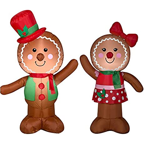 Airblown Inflatable Outdoor Christmas Characters Gingerbread Man And Girl Bundle 2017