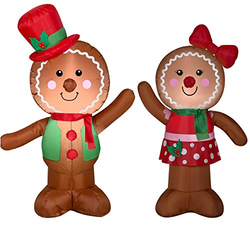 HolidayTime Airblown Inflatable Outdoor Christmas Characters - Gingerbread Man and Girl Bundle 2017