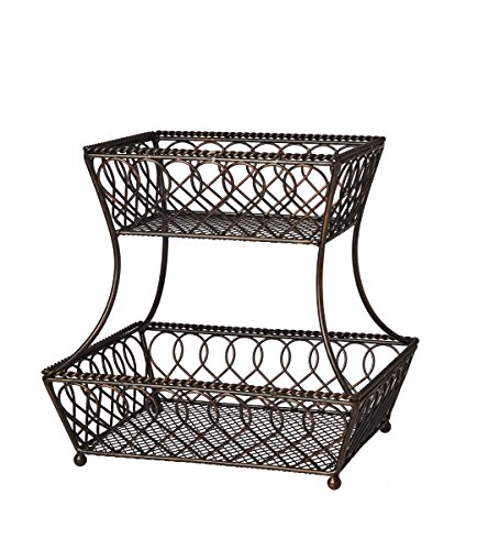 (Gourmet Basics by Mikasa 5201553 Loop and Lattice 2-Tier Metal Rectangular Fruit Storage Basket, 14-Inch, Antique Black)