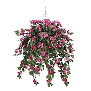 House of Silk Flowers Artificial Mini Pink Bougainvillea in Cone Hanging Basket 32