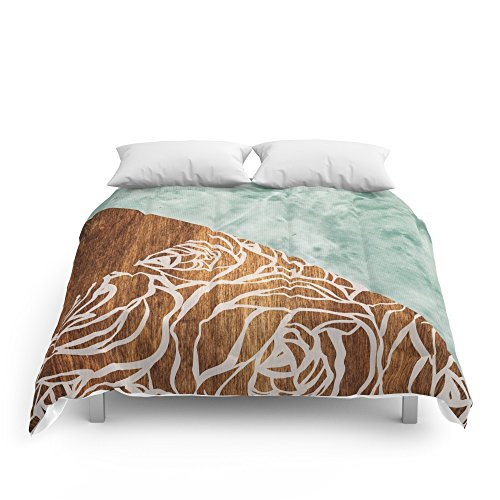 Society6 Wood + Geometric Pattern Comforters King: 104'' x 88'' by Society6