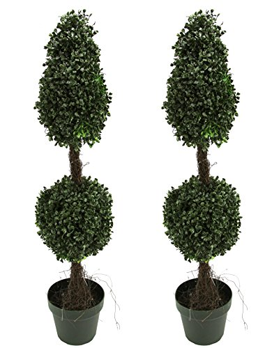 Admired By Nature 3' Artificial Boxwood Leave Double Ball Shaped Topiary Plant Tree in Plastic Pot, Green/Two-tone- Set of 2 by Admired By Nature