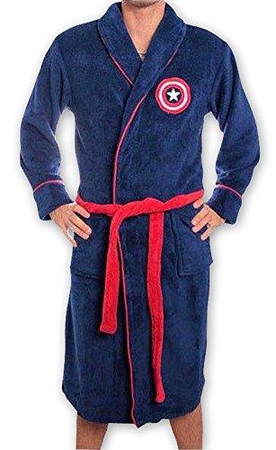 Captain America - Adult Fleece Bathrobe (Uniform Size L/XL) (Embroidered Logo) by Marvel