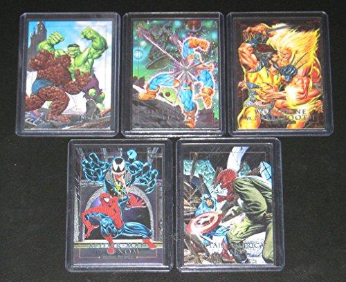(1992 Marvel Masterpieces Series I DYNA-ETCH Insert Set of 5 Cards NM/M Joe Jusko Art, Spider-Man )