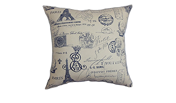 The Pillow Collection Geva Typography Pillow Blue Home Kitchen
