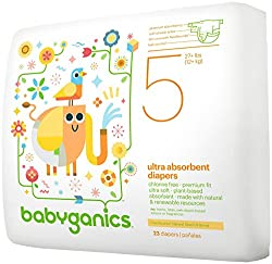 Babyganics Ultra Absorbent Diapers, Size 5, 23 Count