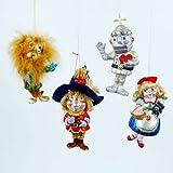 Storybook Girl Scarecrow Lion Tin Man Christmas Holiday Ornament Set of 4