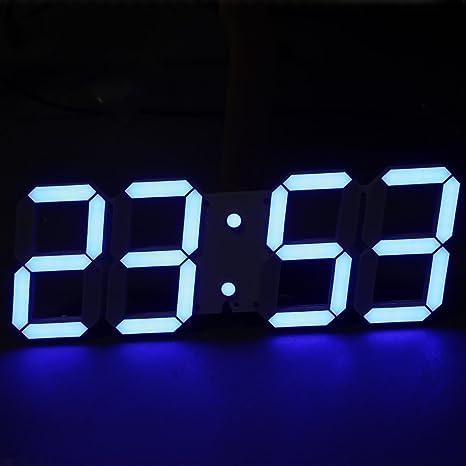 Moderno minimalista Jumbo LED Digital reloj de pared esqueleto Plus con termómetro, calendario, alarma